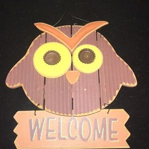 Wooden Owl Welcome Sign Fall Decoration